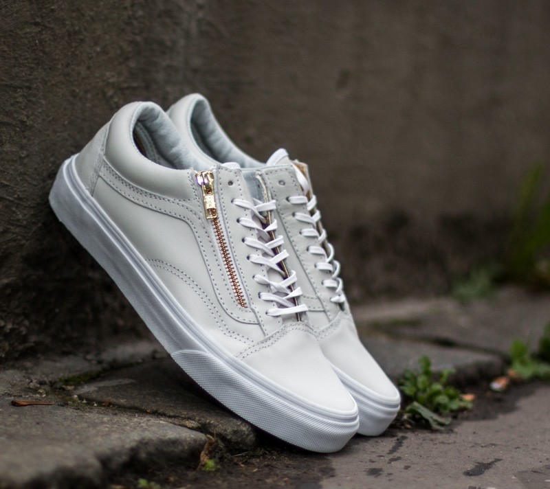 Vans Old Skool Zip Leather True White  Gold  74a12e375910