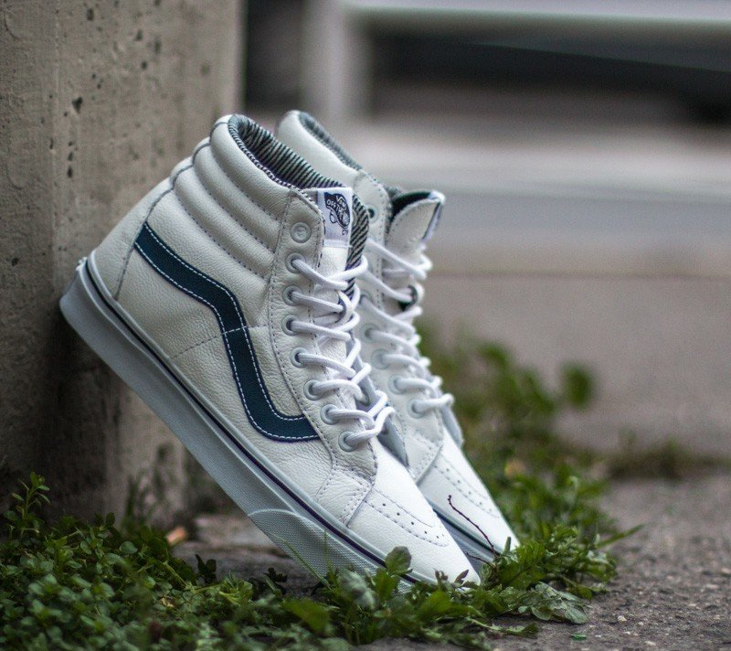 Vans Sk8-Hi Reissue Leather White  Stripes  bffbc4f94