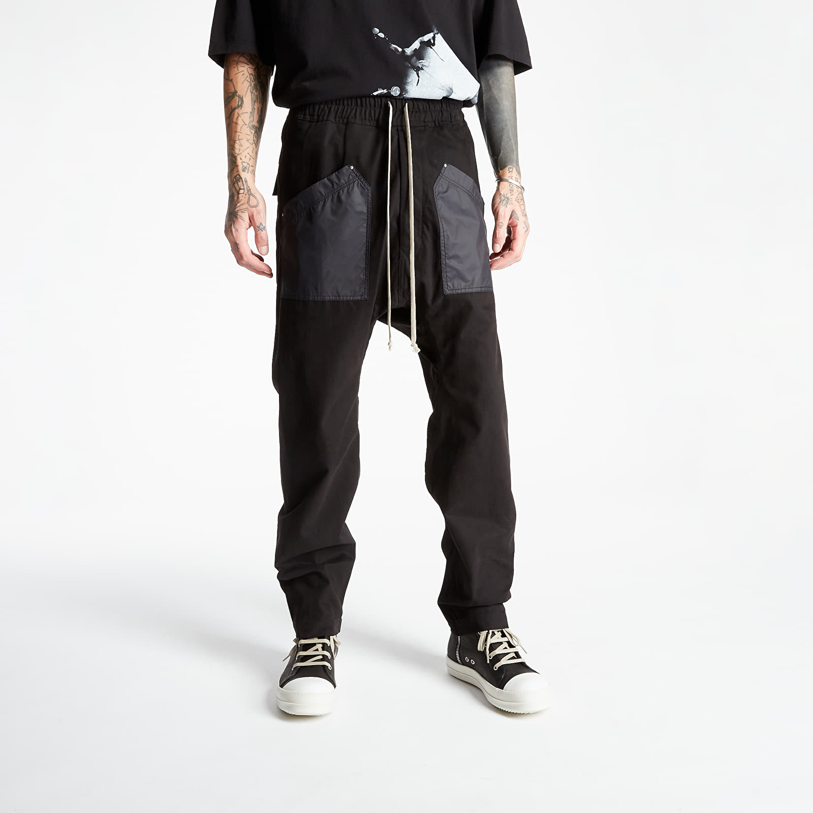 Rick Owens Cargo Drawstring Long Pants Black XS