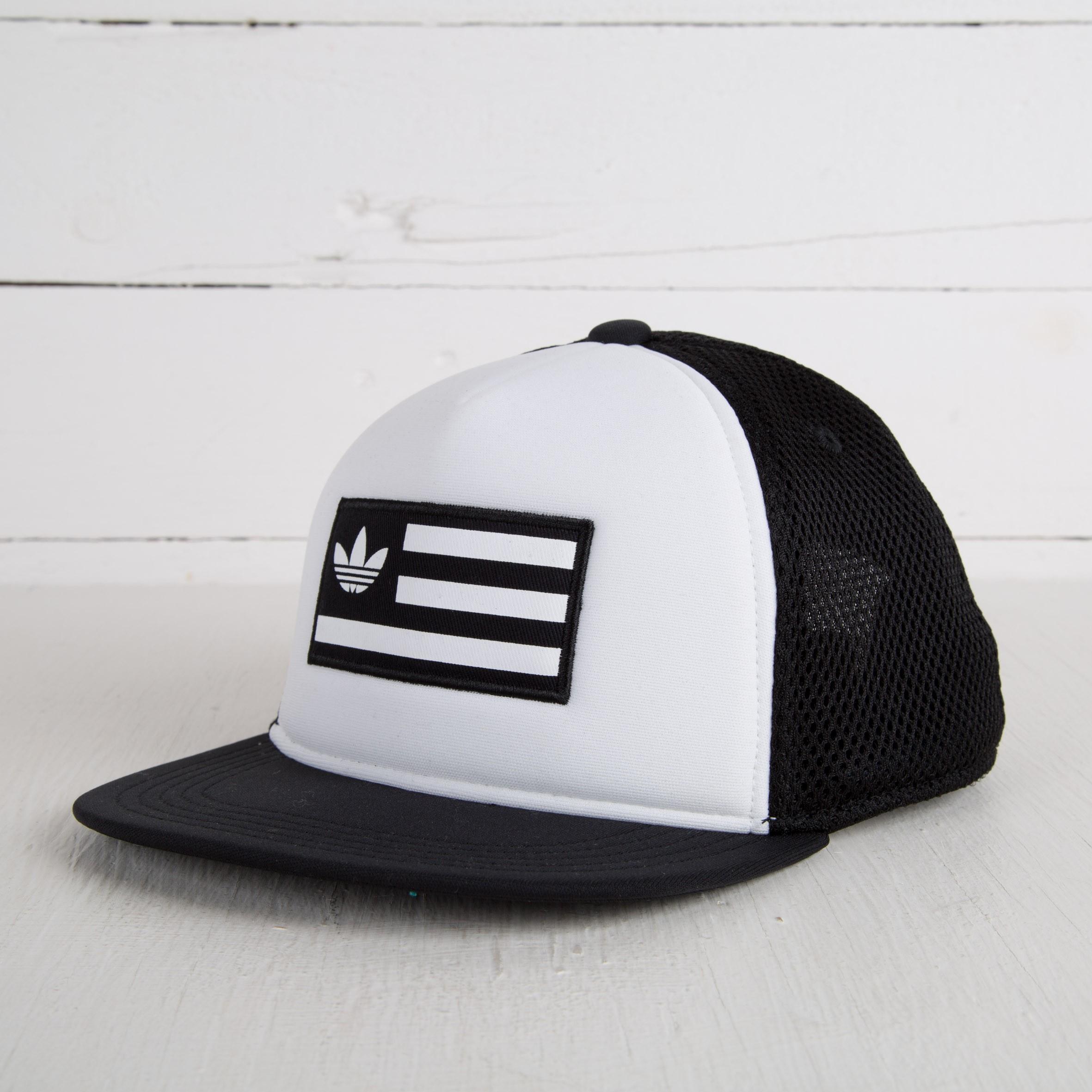 54f41dd0e9f0c adidas Trucker Cap B W Black  White