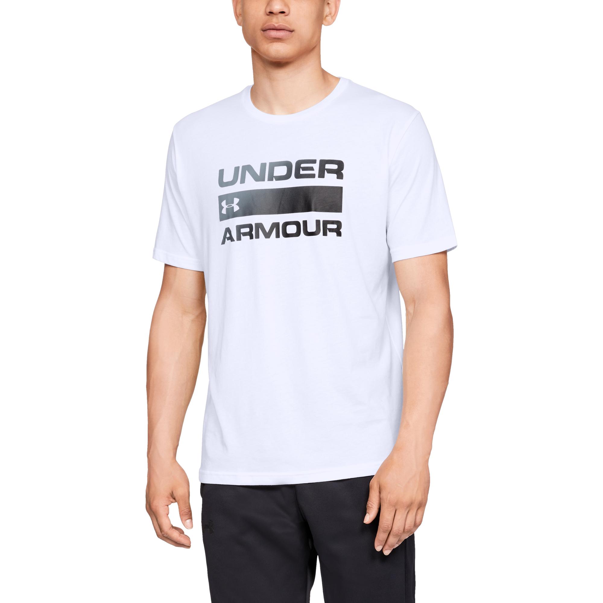 Under Armour Team ISSue Wordmark SS White/ Black L