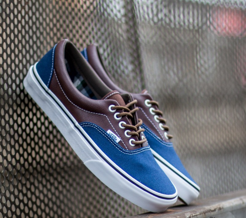 98186ca7ee Vans Era Leather Plaid Estate Blue  Potting Soil