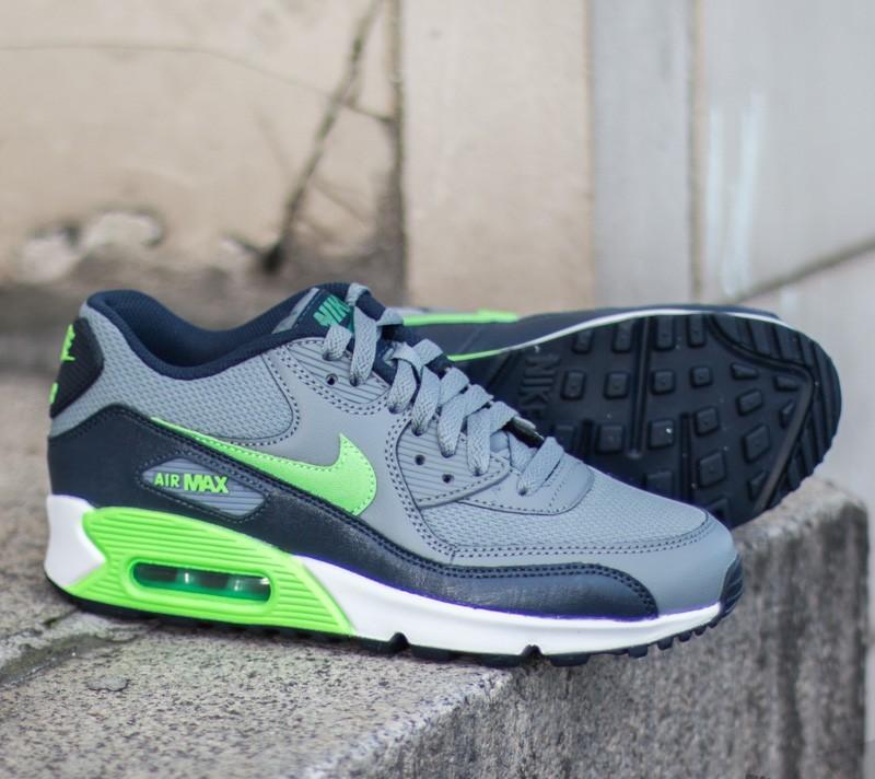 Nike Air Max 90 Mesh (GS) Clear Grey Voltage Green Obsidian Lucid Green | Footshop