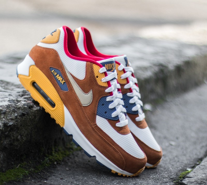 Nike Air Max 90 Premium White Metallic Gold Grn Tawny Gym Royal | Footshop