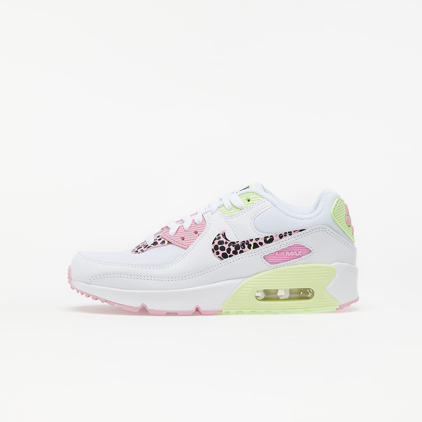 Nike Air Max 90 GS White/ Pink Rise-Pink Rise-Barely Volt EUR 38