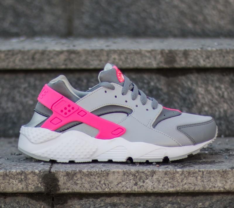 Nike Huarache Run (GS) Wolf Grey/White-Cool Grey-Hyper Pink   Footshop