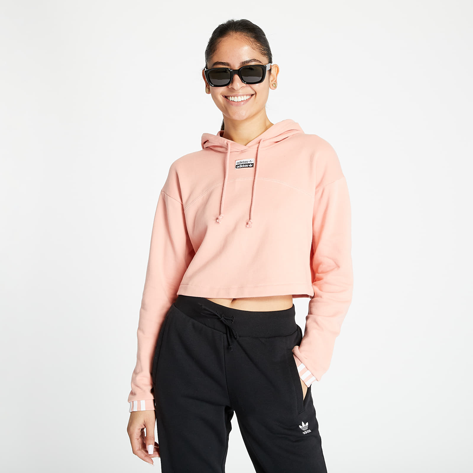 Hanorace și bluze adidas Cropped Hoodie Trace Pink