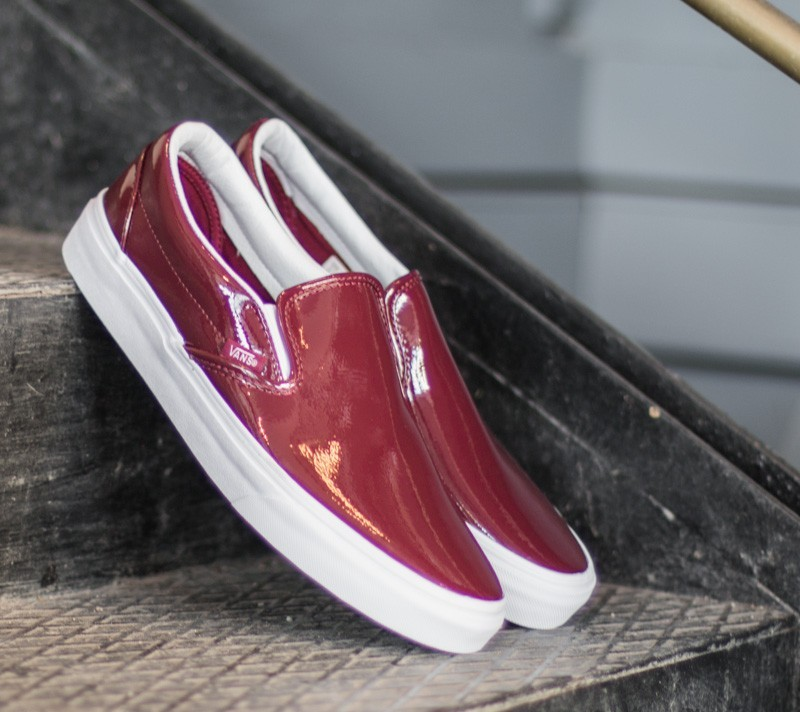 0ca0e61a1a Vans Classic Slip On Tumble Patent Burgundy