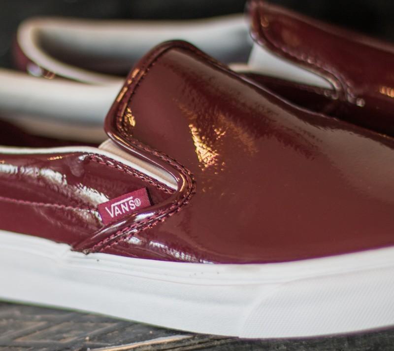 Vans Classic Slip On Tumble Patent Burgundy | Footshop