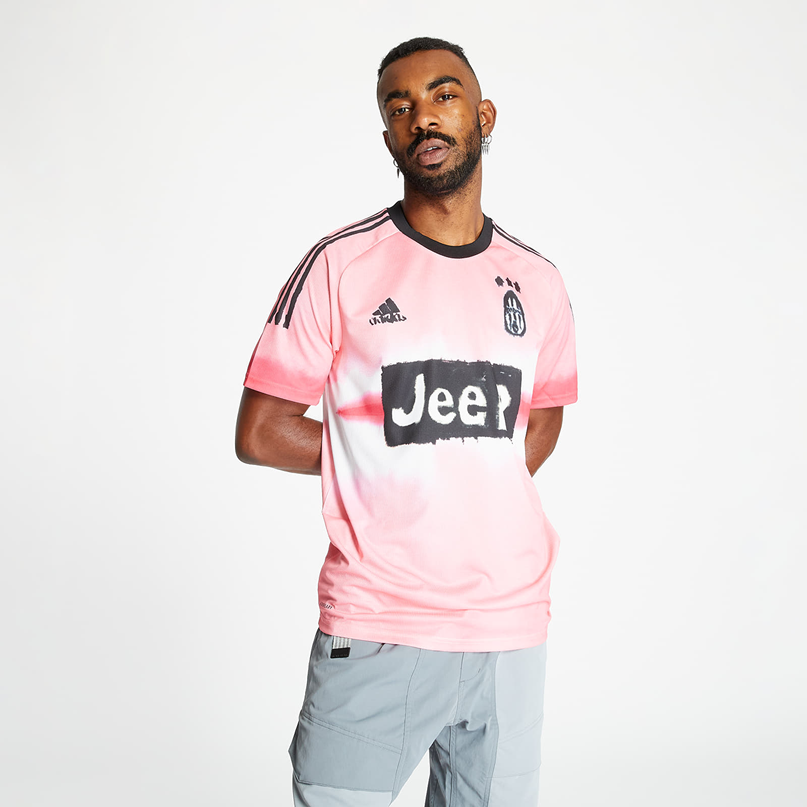 t shirts adidas juventus human race jersey glow pink black footshop