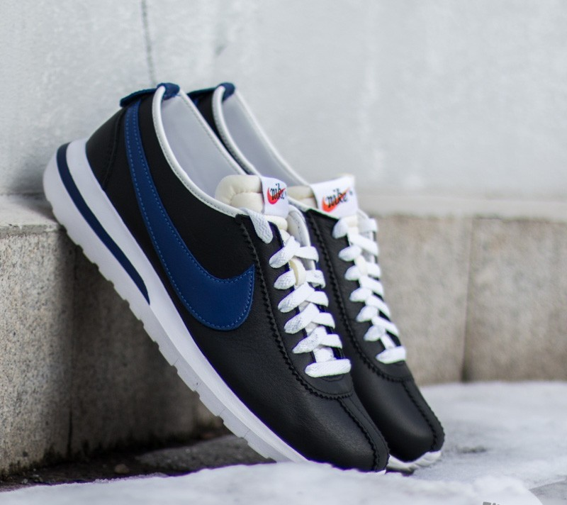 64f3825d4b13 Nike Roshe Cortez NM Leather Black Deep Royal Blue-Safety Orange-White