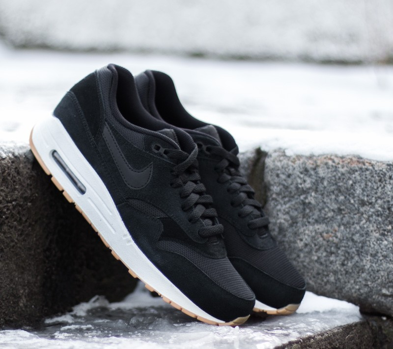 best website f1384 fd19f Nike Air Max 1 Essential Black Black-White-Gum Yellow