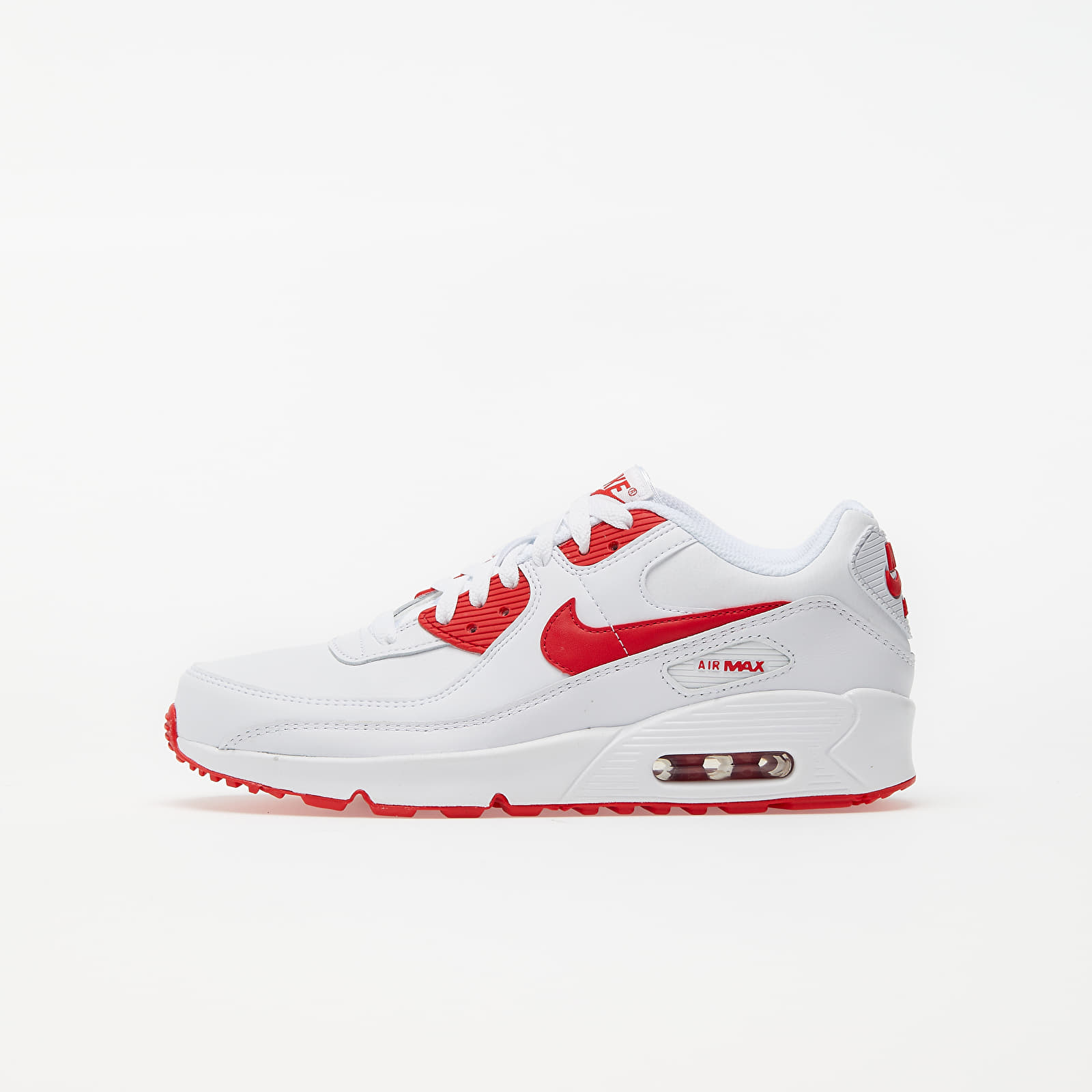 Nike Air Max 90 Leather (GS) White/ Hyper Red-Black EUR 40