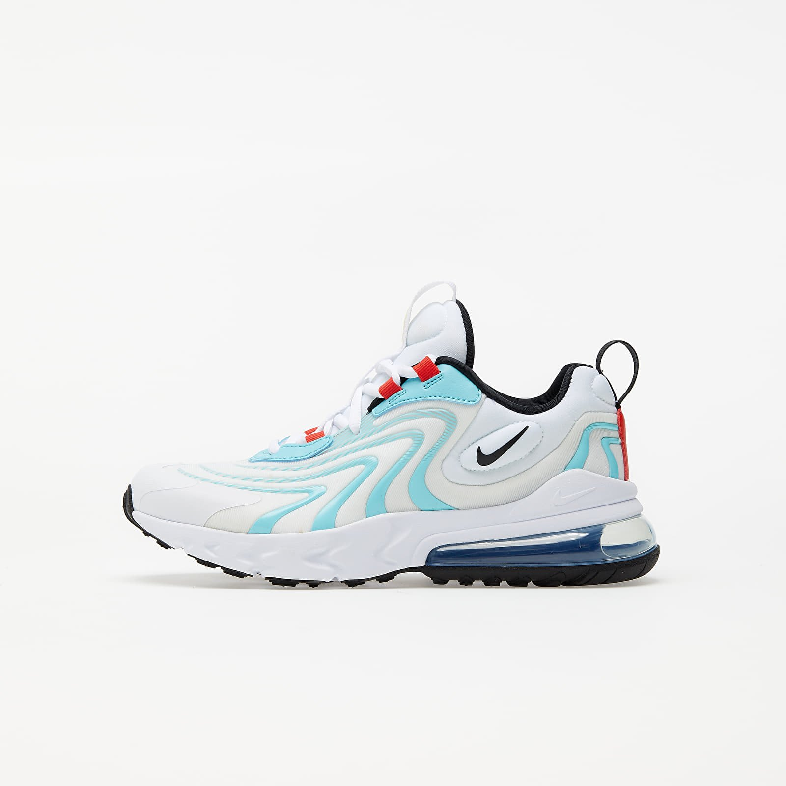 Nike Air Max 270 React Eng (GS) White/ Black-Bleached Aqua-Chile Red EUR 37.5