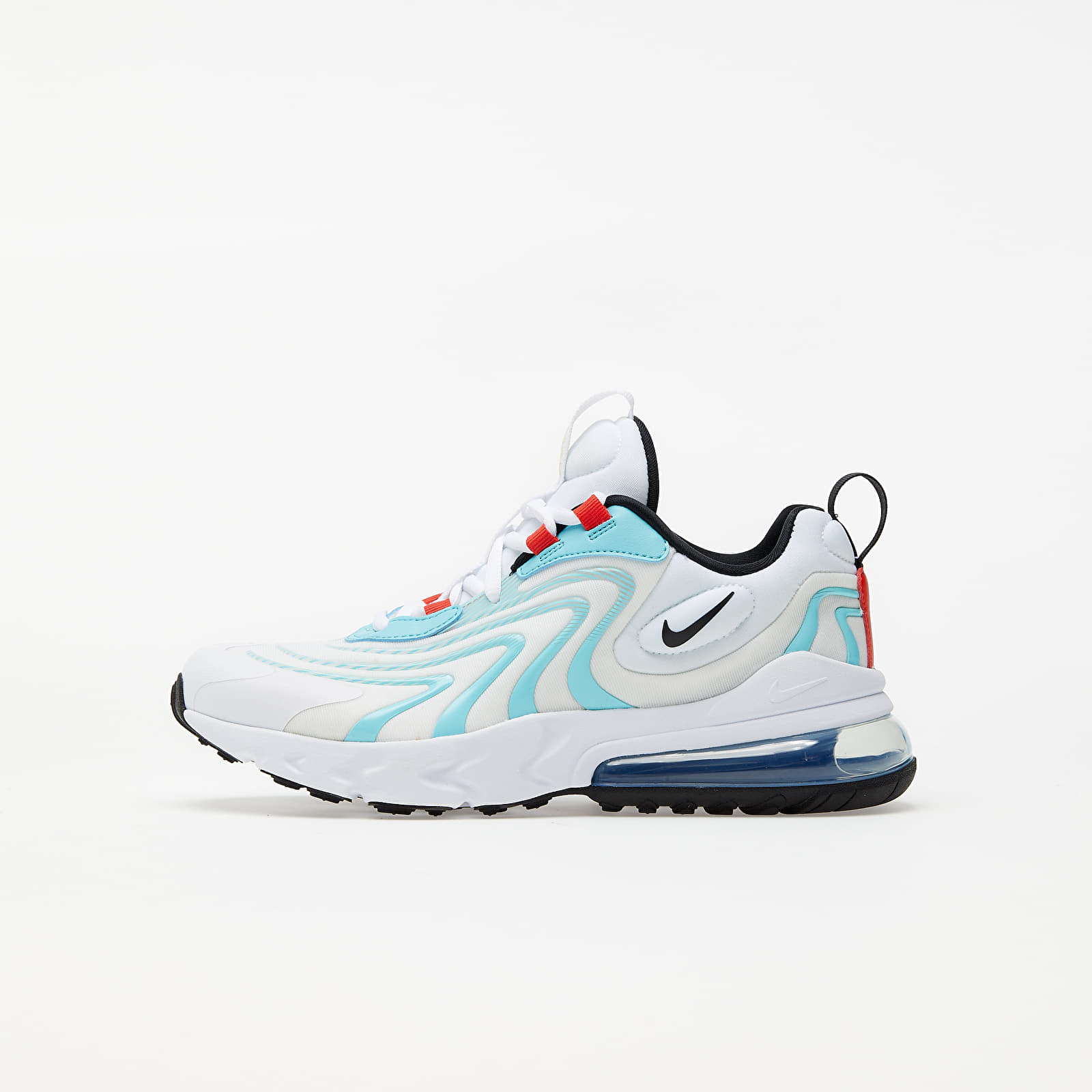 Nike Air Max 270 React Eng (GS) White/ Black-Bleached Aqua-Chile Red EUR 38