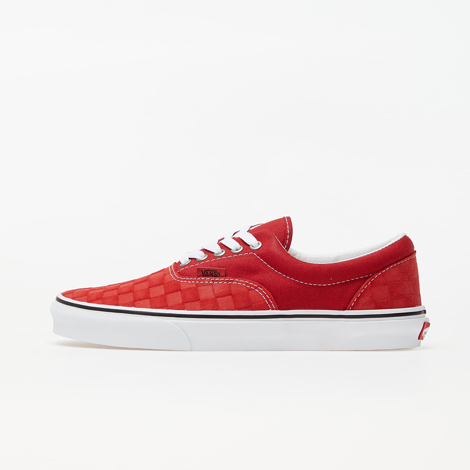 Încălțăminte și sneakerși pentru bărbați Vans Era (Deboss Checkerboard) Pompeian Red/ True White