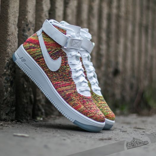 Nike Air Force 1 Ultra Flyknit Mid VoltWhite Bright Crimson Court Purple | Footshop