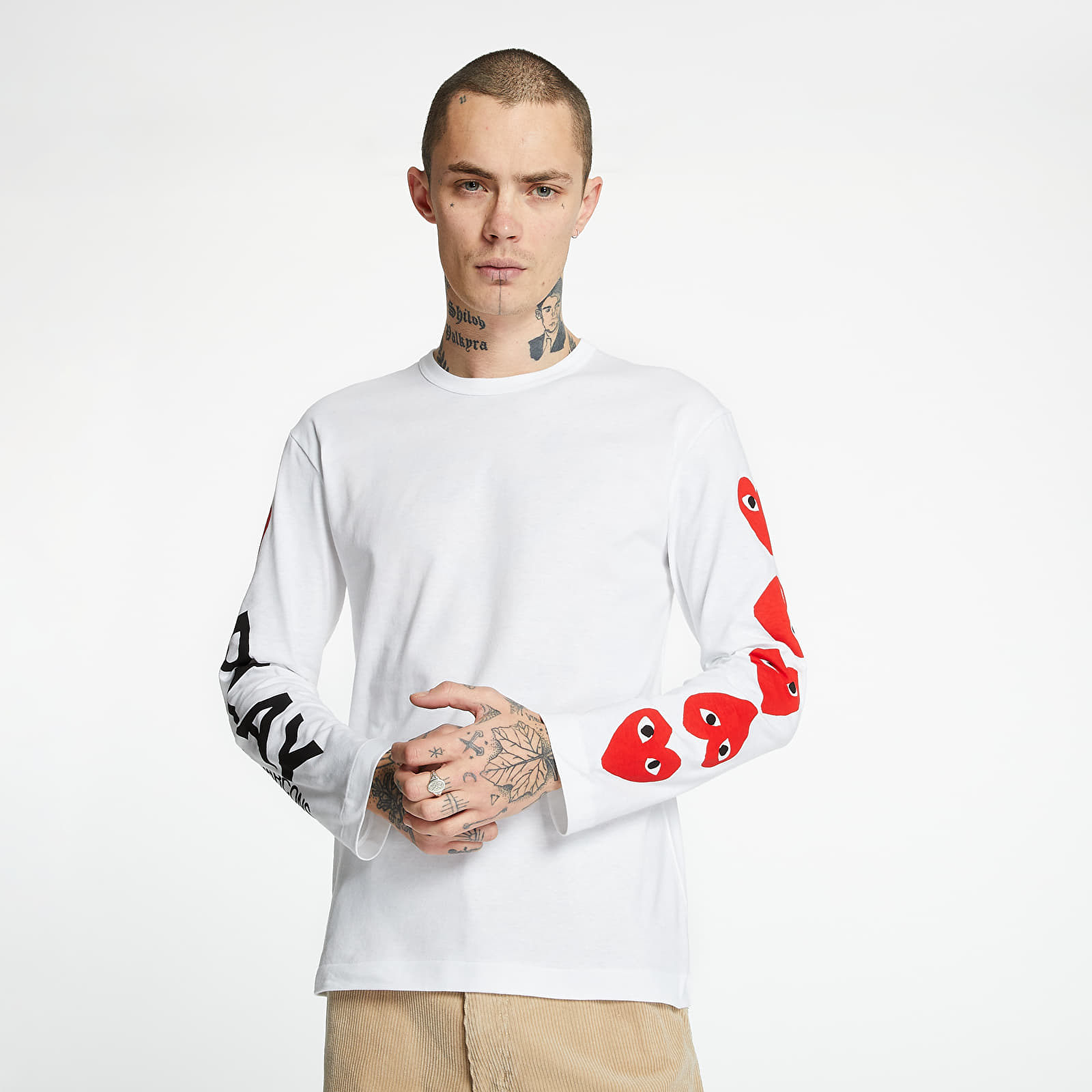 T-shirts Comme des Garcons PLAY Long Sleeve TEE White
