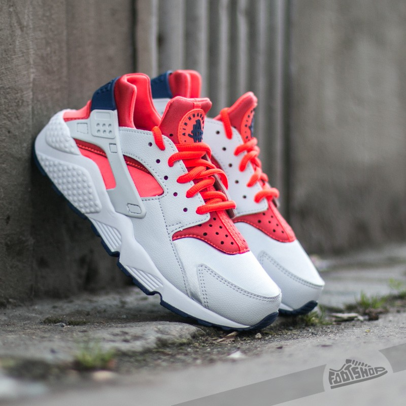 8ce4d9c0eeb3 Wmns Nike Air Huarache Run Premium Platinum  Bright Crimson- Loyal Blue
