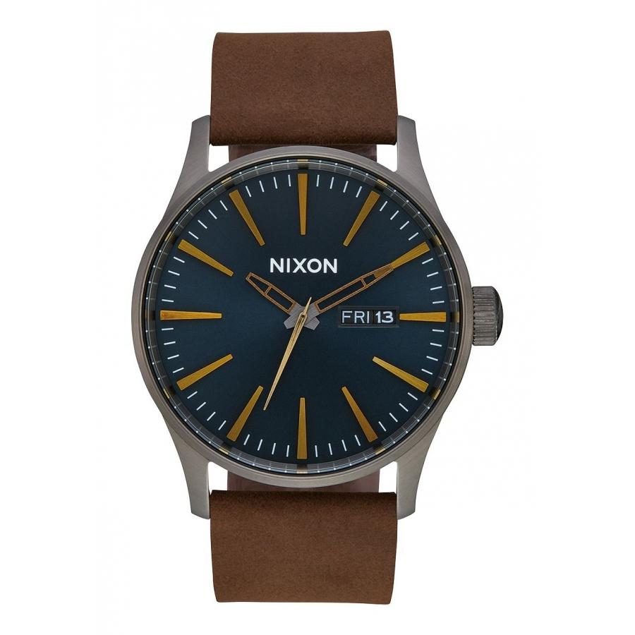 Montres Nixon Sentry Leather Watch Gunmetal/ Indigo/ Brown