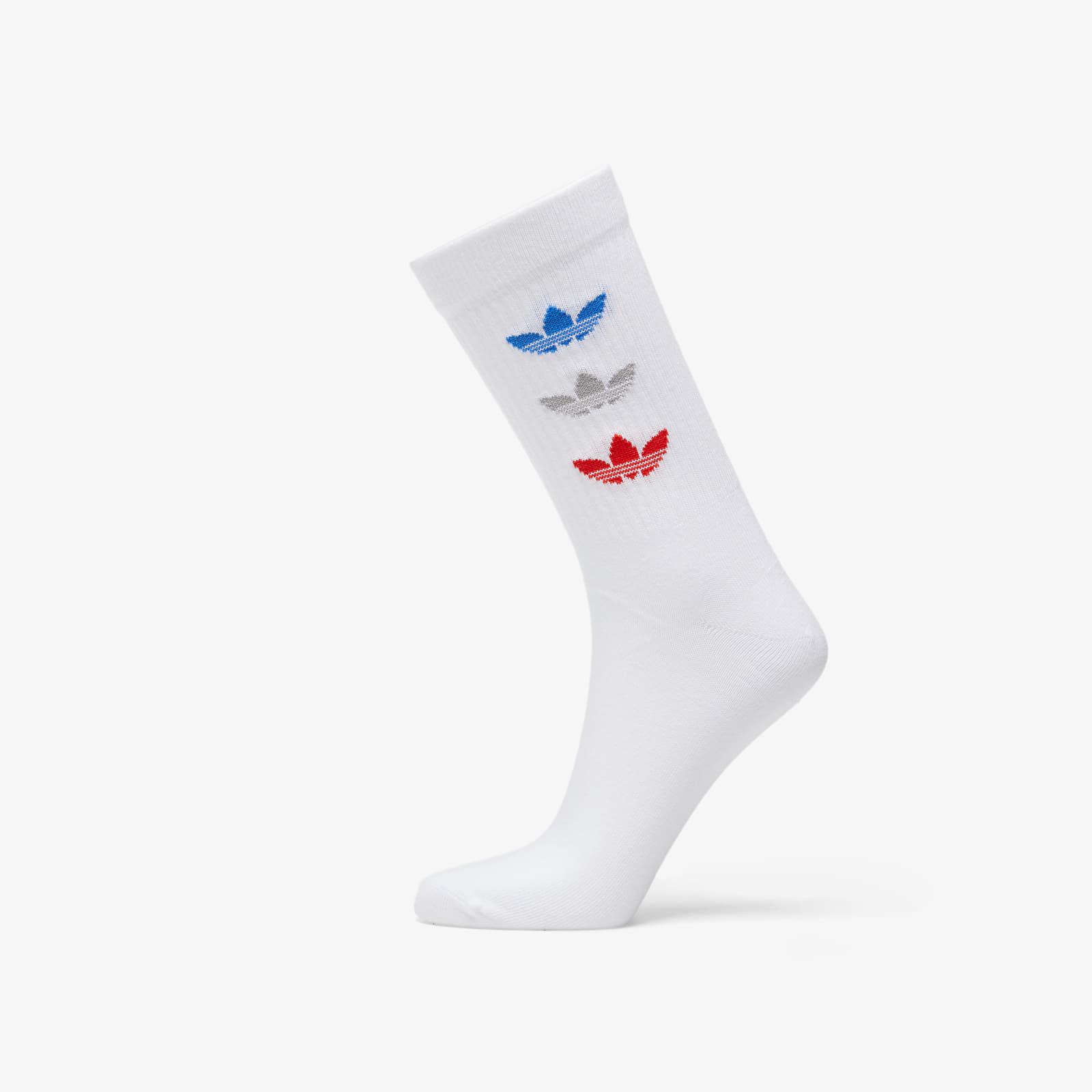 adidas Trefoil Thin Ribbed Crew Socks (2-pack) White 40-42