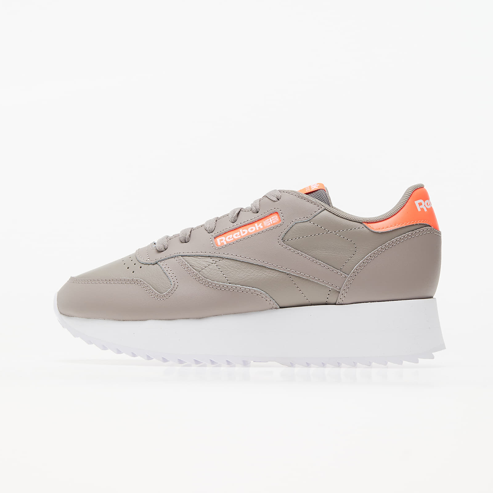 Reebok Classic Leather Double Boulder Grey/ Orange Flare / White EUR 38