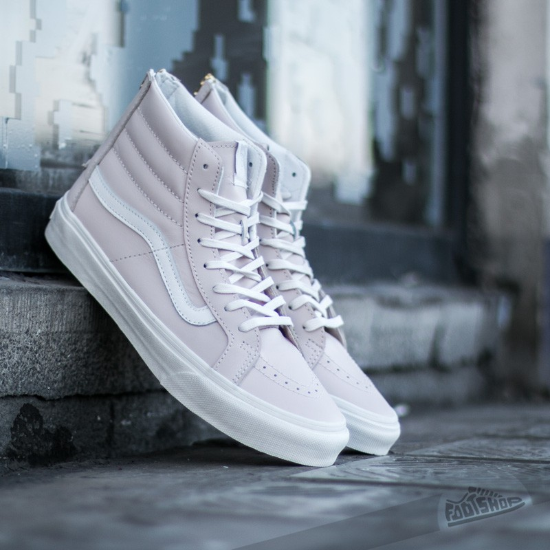 3476d7490675 Vans SK8-Hi Slim Zip (Leather) White Spring Powder  Blanc