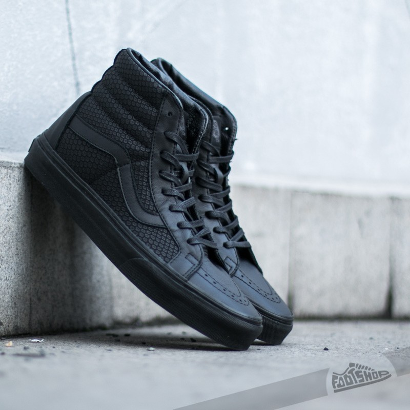 b12bc1410 Vans Sk8-Hi Reissue Snake Leather Black
