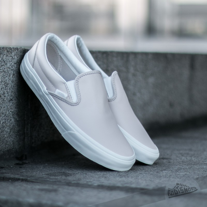 f342bbc72013 Vans Classic Slip-On (Leather) White Spring Powder  Blanc