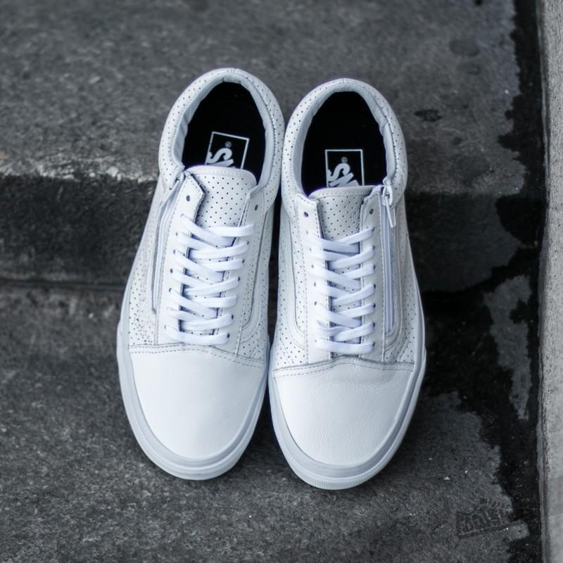 55abf7b242352 Vans Old Skool Zip (Perf Leather) True White | Footshop
