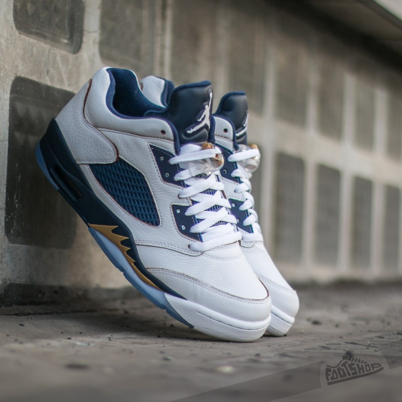 new arrival 827f8 4267d Air Jordan 5 Retro Low White/ Metallic Gold Star- Mid Navy | Footshop