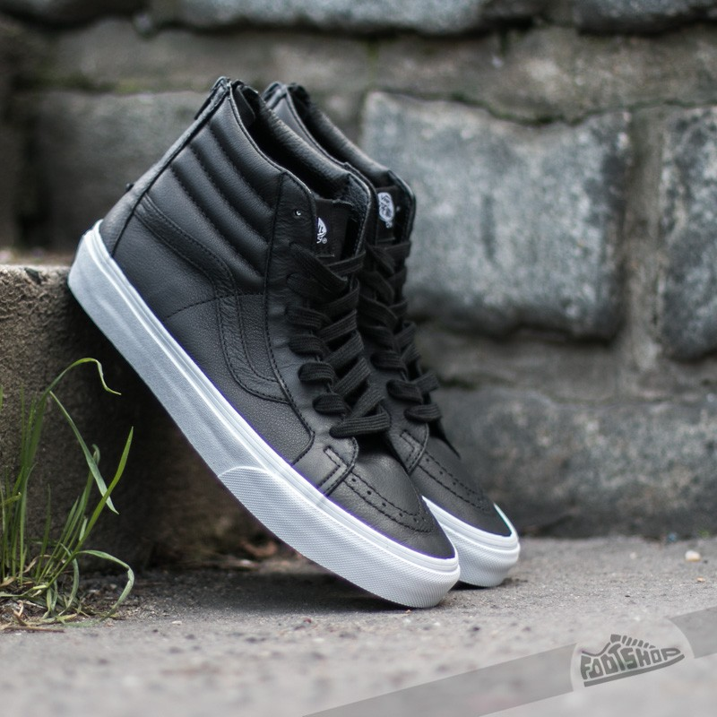 Vans Sk8-Hi Reissue Zip Premium Leather Black  True White  3eac870db
