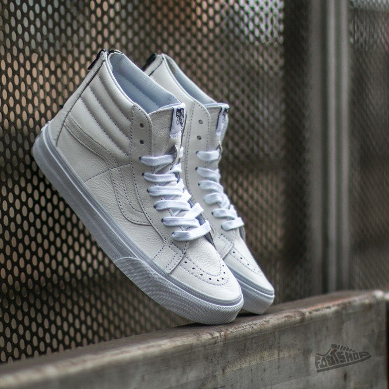 Vans SK8 Hi Reissue Zip Premium Leather Tr White  Black  5e5b2e746