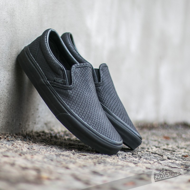 cb864345b8 Vans Classic Slip-On + Snake Leather Black