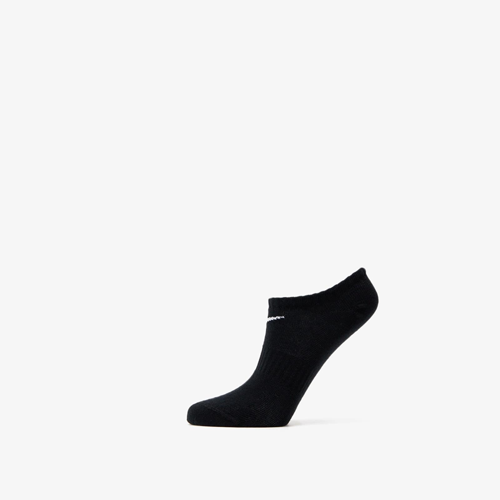 Nike Everyday Cotton Lightweight No Show Socks 3 Pack Black 34-38