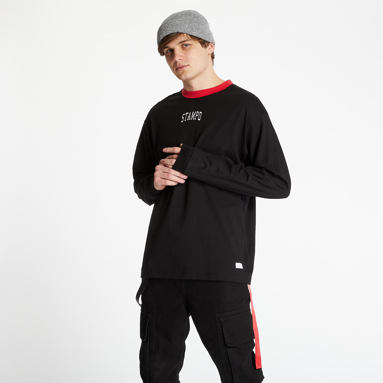 Pólók STAMPD Collegiate Long Sleeve Tee Black