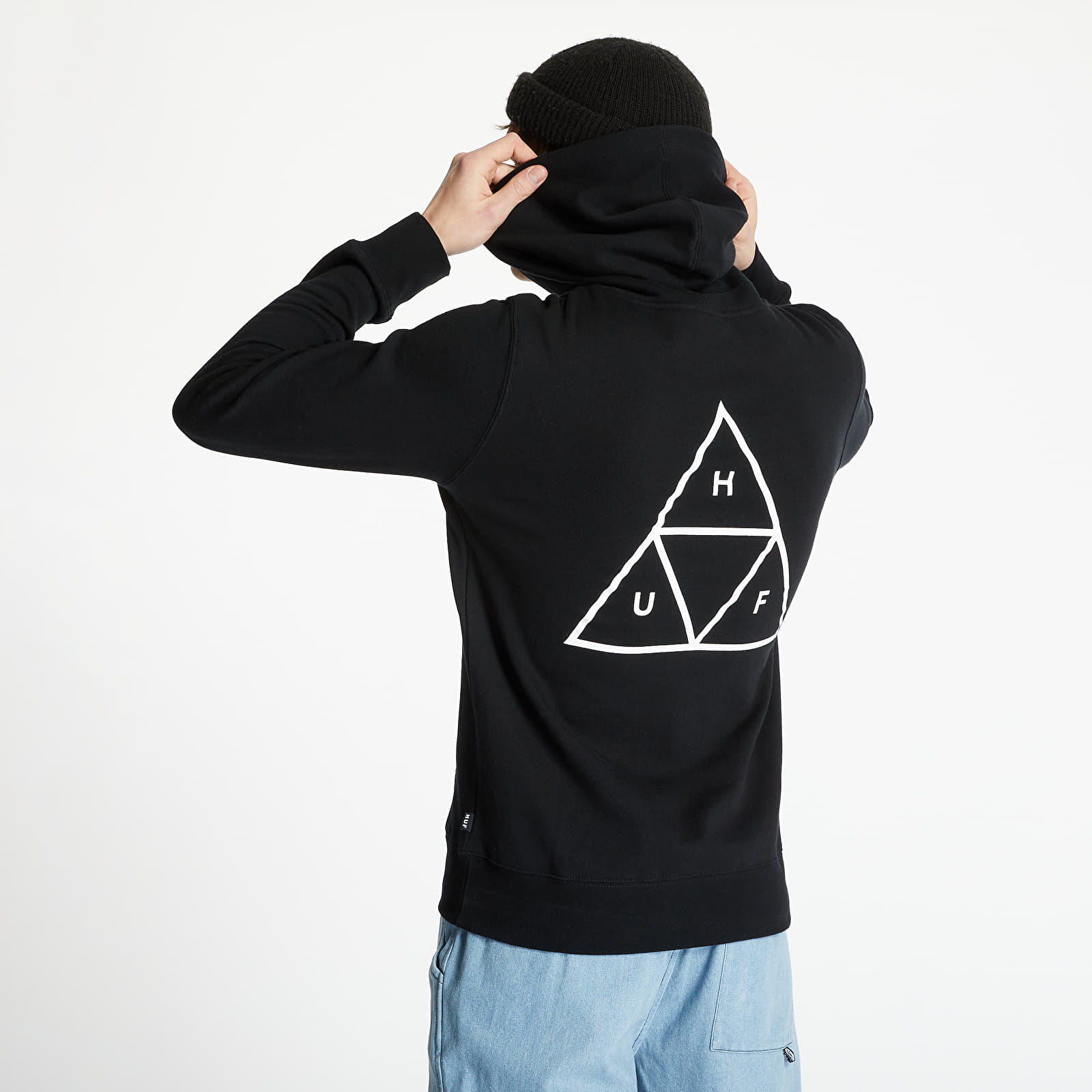 Sweatshirts HUF Essentials Triple Triangle Pullover Hood Black