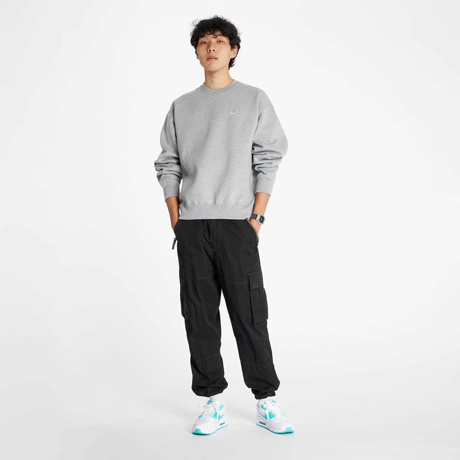Mikiny a svetre Nike Nrg SoloSwoosh Crew Fleece Dk Grey Heather/ White