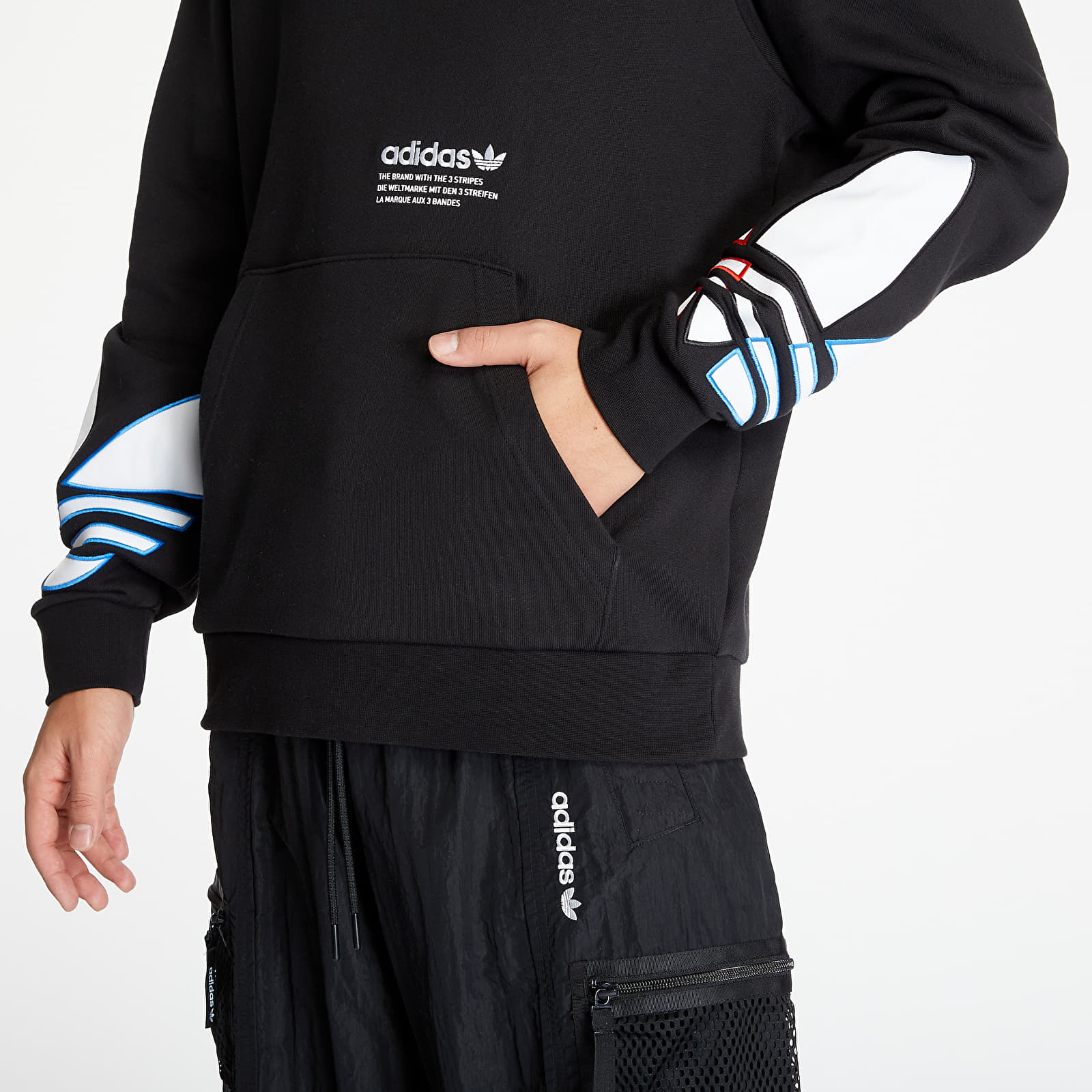 Pánske oblečenie adidas Tricolor Trefoil Hoodie Black
