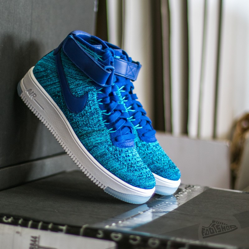 W Nike Air Force 1 Flyknit Blue Lagoon  Deep Royal Blue  b35fcec3dc