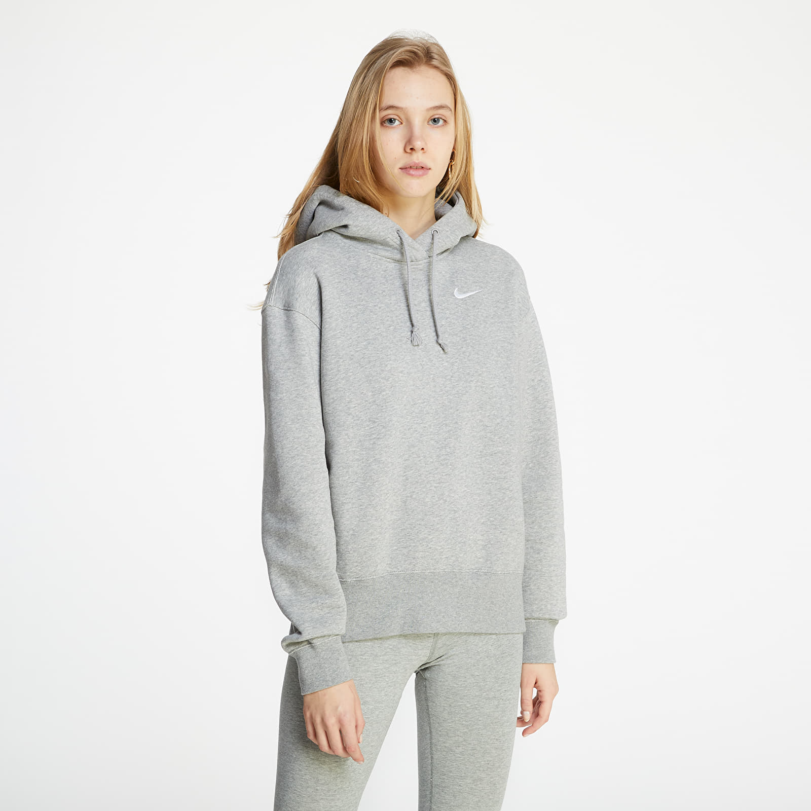 Nike Sportswear Hoodie Fleece Trend Dk Grey Heather/ White