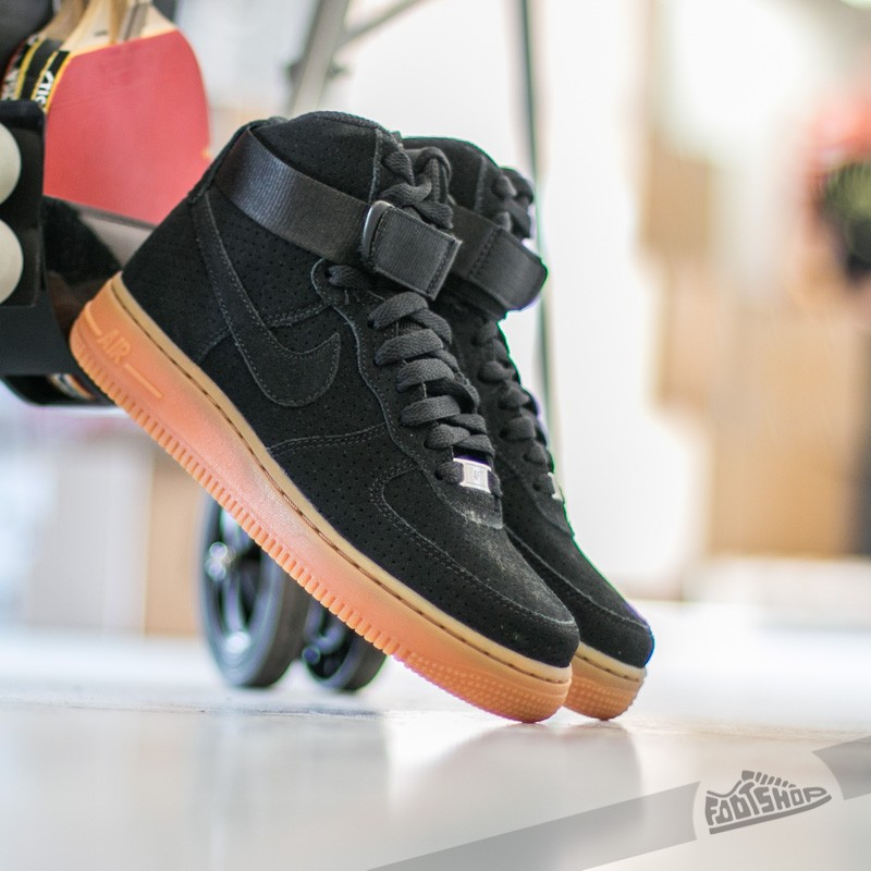 384731bfd41 Nike Wmns Air Force 1 Hi Suede Black  Black