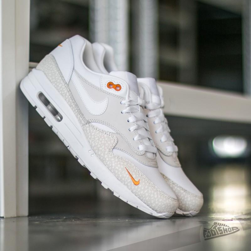 23d0a34beb Nike Air Max 1 Premium Miniswoosh White/ White-Kumquat | Footshop