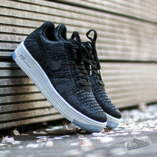 Nike W Air Force 1 Flyknit Low Black Black White | Footshop