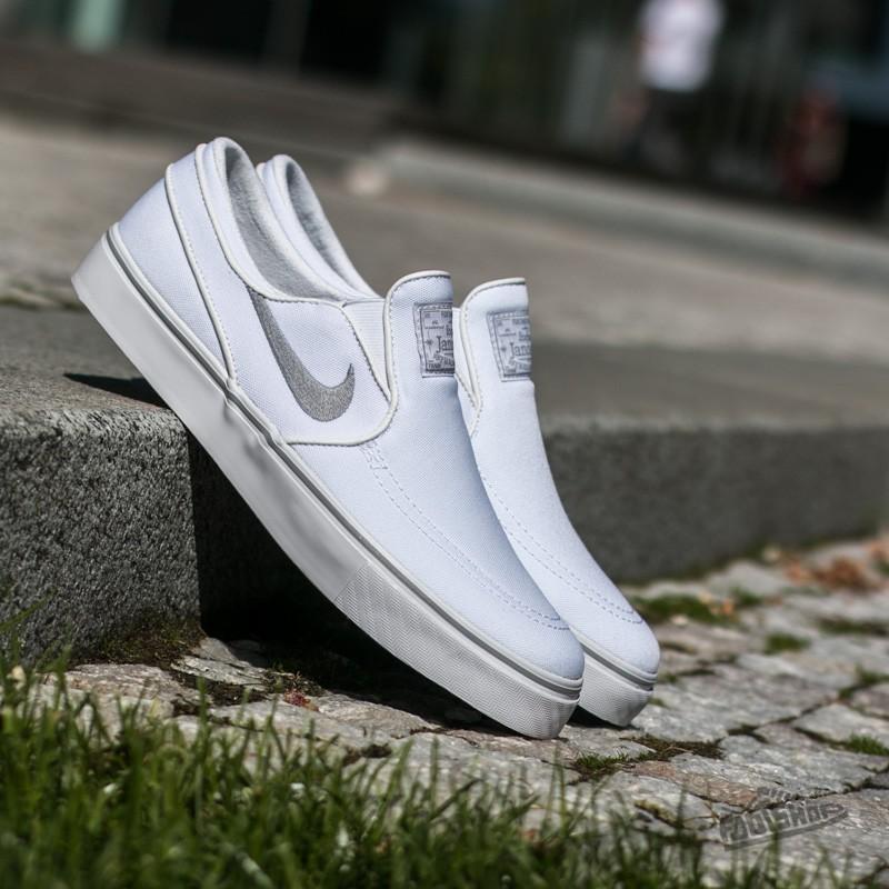 all white janoski slip on