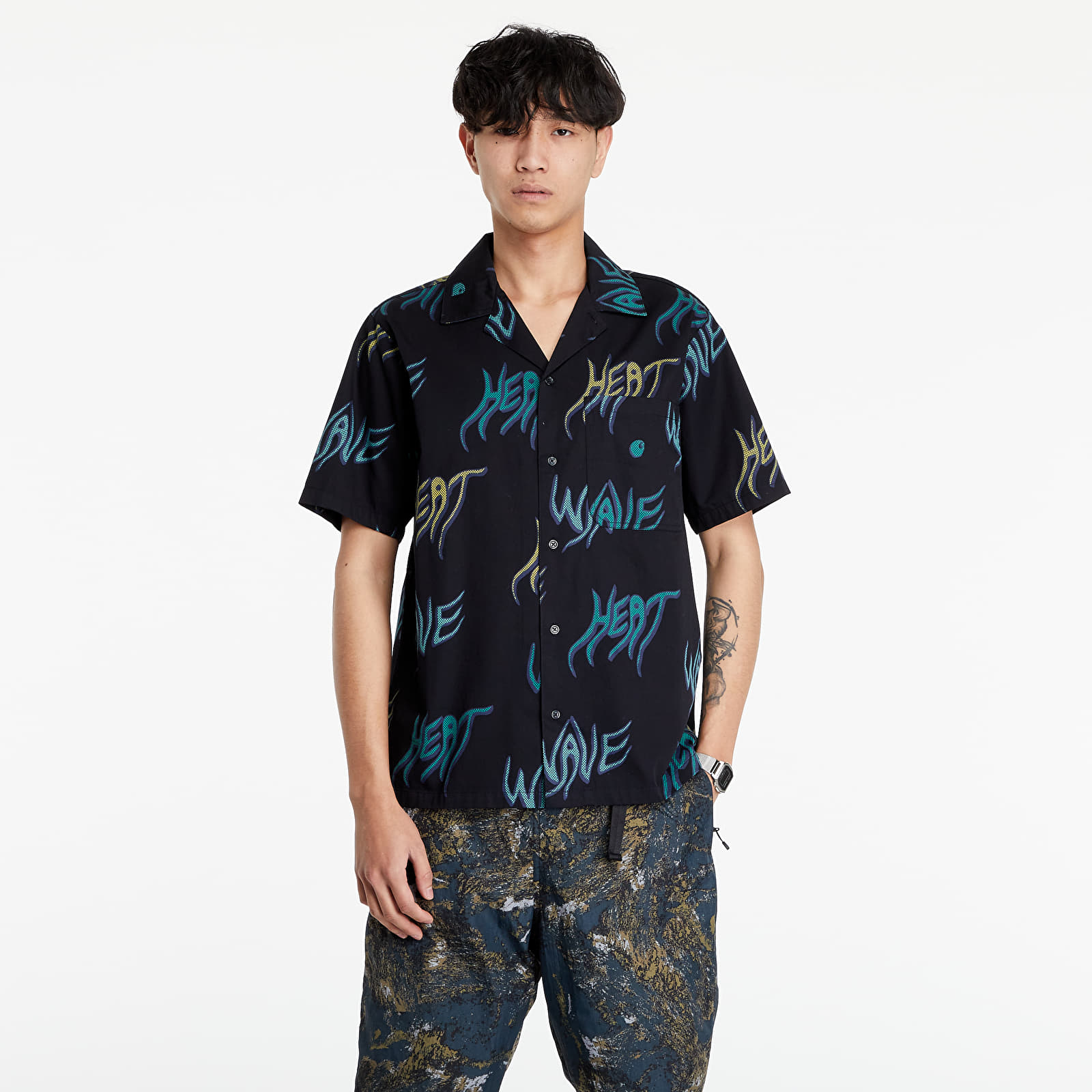 Carhartt WIP Short Sleeve Heat Wave Shirt Heat Wave Print/ Black S