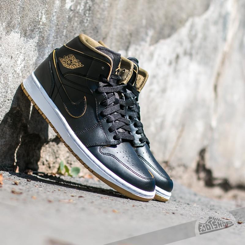 34b04e462bb0a Air Jordan 1 Mid Black  Metallic Gold-White