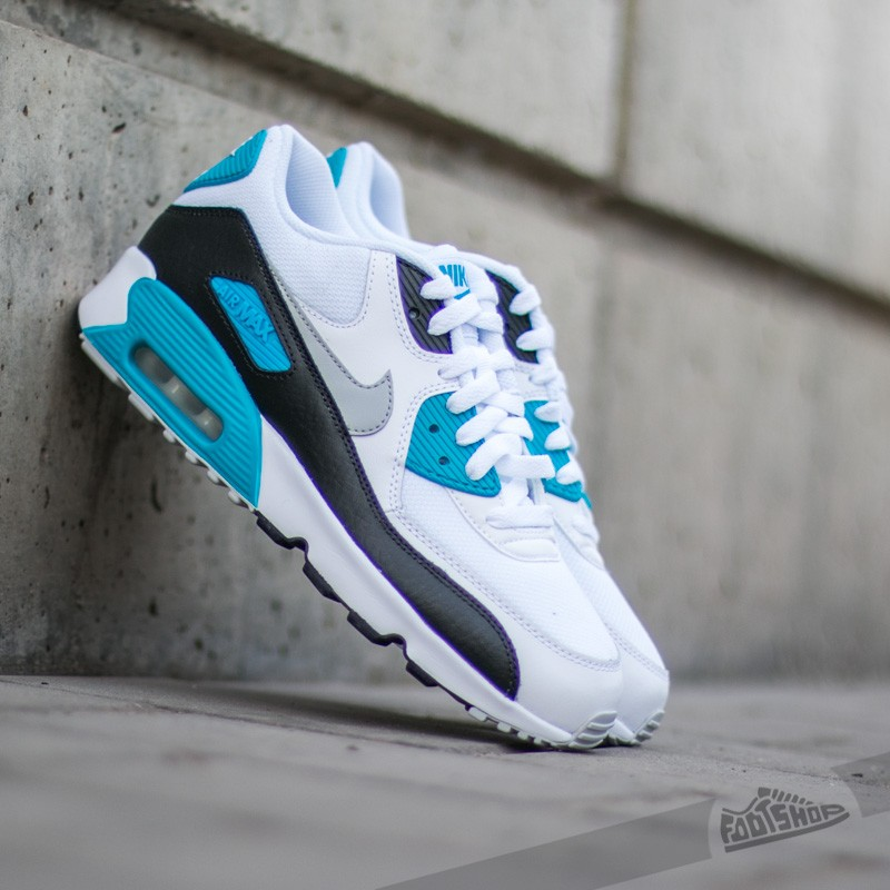 08e73dacffb Nike Air Max 90 Mesh (GS) White  Neutral Grey-Black-Blue Lagoon ...