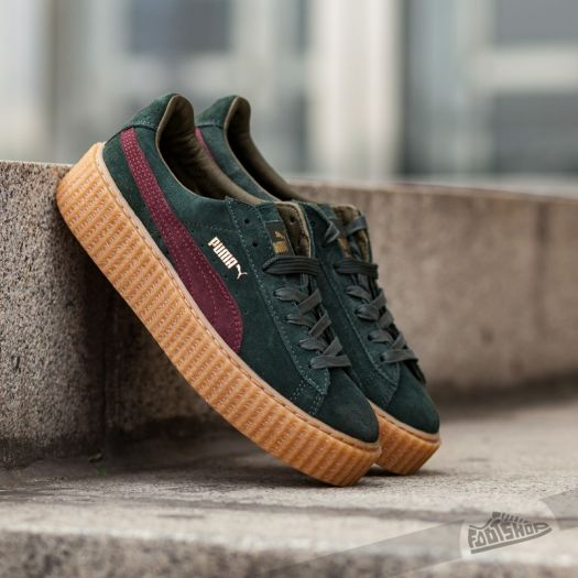 new product 739a2 6e1ff Puma x Rihanna Suede Creepers Green/ Bordeaux/ Gum ...