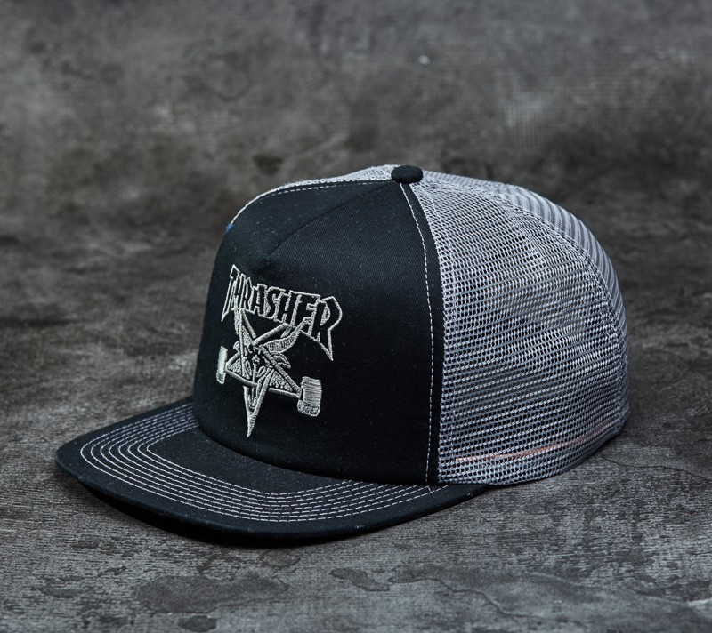 b6534796e2c Thrasher Skategoat Mesh Cap Embroidered Black   Grey
